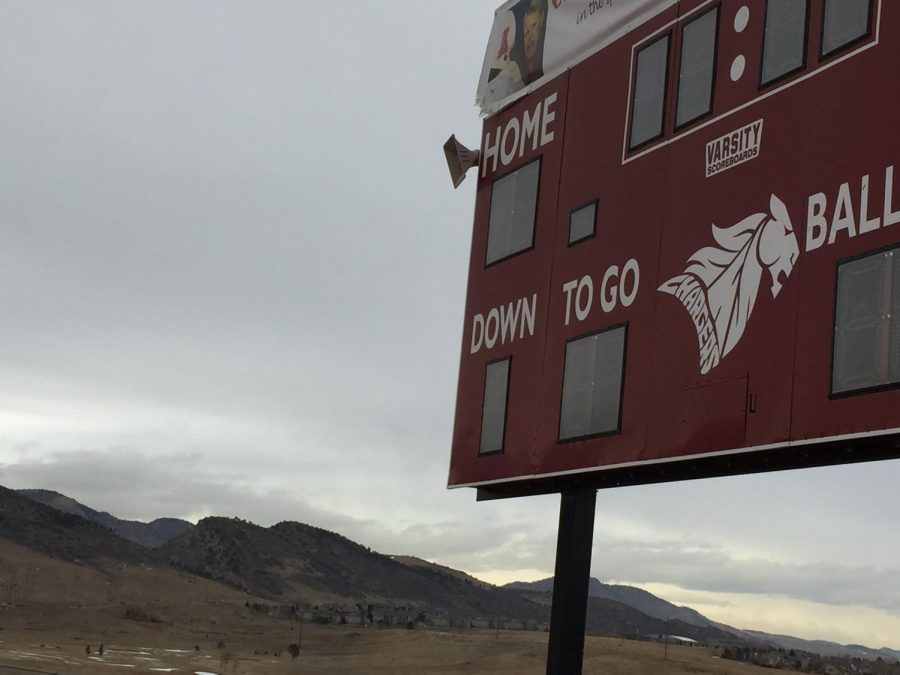 the score board on the football field