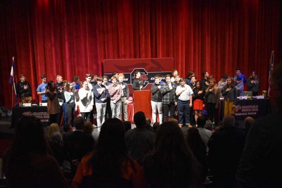 Choir sang the national anthem at Signing Day