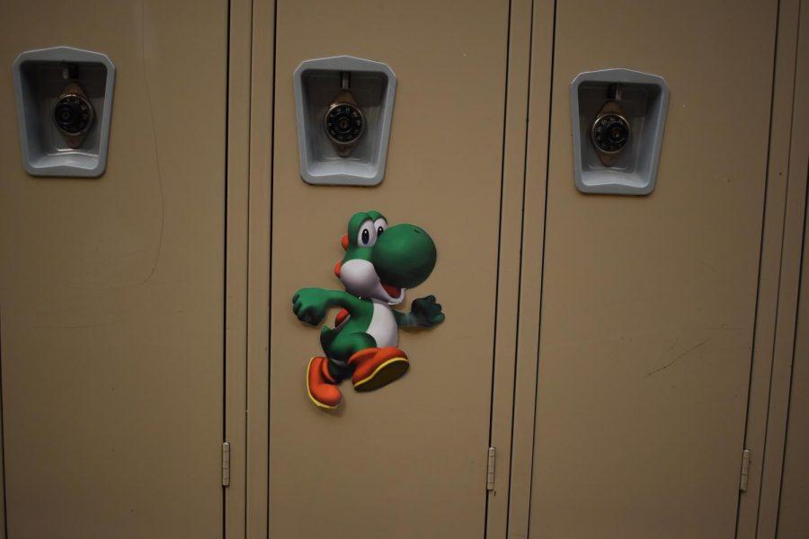 Luigi on a locker in Upper C or D Hall