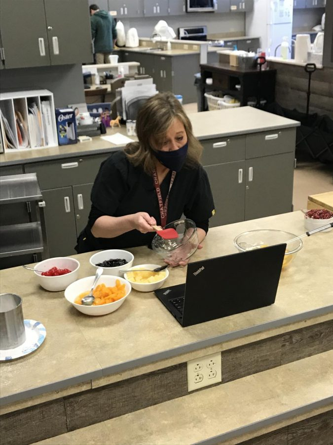 Mrs. Lowry enjoys connecting with people over ZOOM COOKING moments.